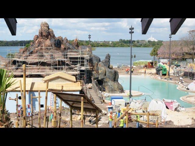 Disney's Polynesian Resort Construction Update 3/15, Lava Pool Area, DVC Villas, Trader Sam's