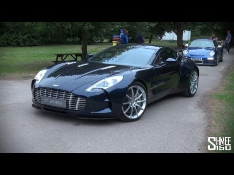 Dark Blue Aston Martin One-77 - Startup and Driving