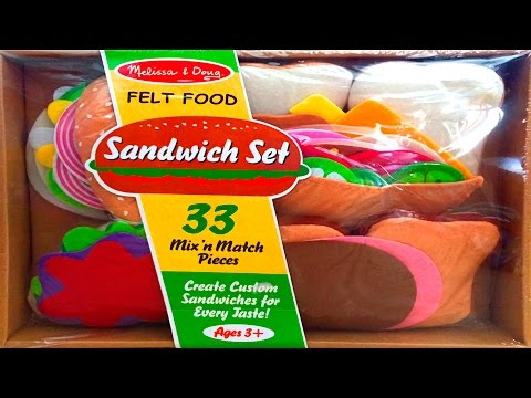 Sandwich Set Melissa & Doug Felt Food Toy Cutting Food Make Burgers Kebaps Play Food Videos