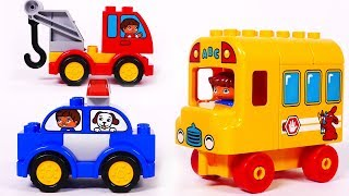 School Bus Fire Truck Police Car Learn Colors with Building Blocks Lego Playset