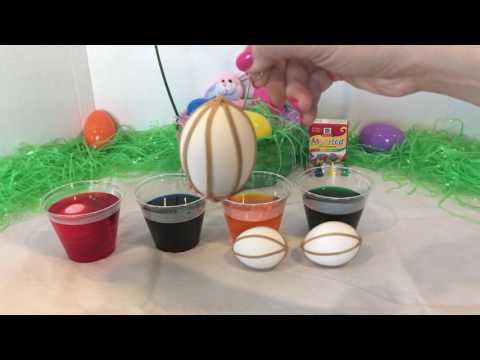 DIY Easter Eggs, Dye Eggs With Rubber Bands, Egg Coloring, Easy Egg Designs!