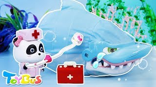 Doctor Panda Rescues Baby Shark | Super Panda Rescue Team | Shark Story | Play Doh | ToyBus