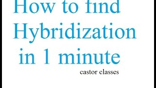 How to find hybridization in 1 minute.