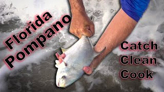 Catching Monster Pompano on Sand FLEAS! {Catch Clean Cook} BAKED Pompano ALMANDINE