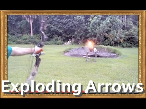 Exploding Arrows with compound bow! [Arrow filled with black powder. capped w/ shotgun primer]