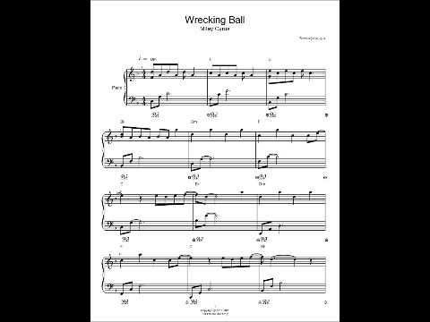 Wrecking Ball Piano Sheet Music Miley Cyrus Cover 733 views