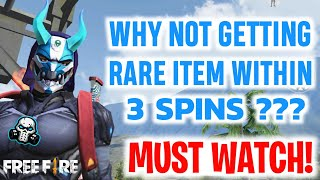 REALITY OF GUARANTEED RARE ITEM WITHIN 3 SPINS IN FREEFIRE [HINDI]
