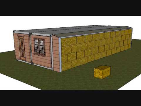 Straw bail and shipping container home youtube - Insulating shipping container homes ...