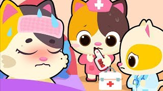Mommy Cat Got Sick | Kitten Doctor | Sick Song | Nursery Rhymes | Kids Songs | Baby Cartoon |BabyBus