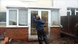 Pressure washing a Conservatory