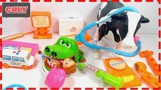 Đồ chơi bác sĩ khám bệnh cá sấu rất vui bị sâu răng và con bò bị gãy chân doctor toy for kids trẻ em