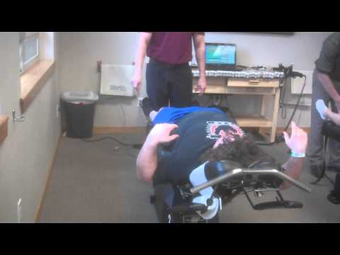Post SI injury Chiropractic adjustment and evaluation with Dr. Bridgeman at Laser Spine and Disc