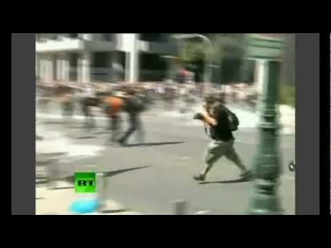 Riots in Greece - Petrol Bomb Fight