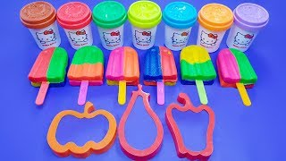 Learn Colors with 6 Colorful Glitter Ice Cream & Fruit Modelling Clay | Pony Surprise Eggs