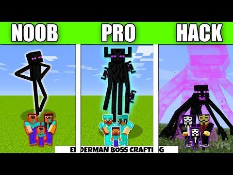 Minecraft Battle Enderman Mutant FAMILY CRAFTING CHALLENGE - NOOB vs PRO vs HACKER vs GOD Animation
