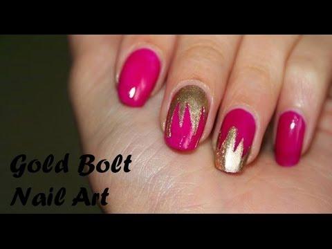 Gold Bolt Nail Art