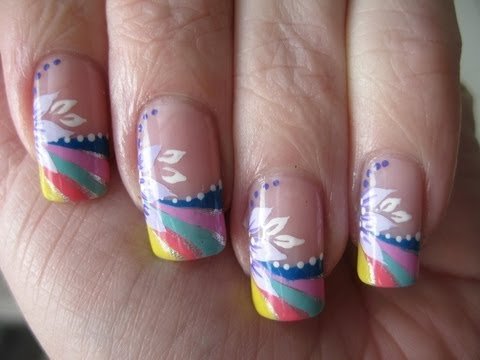 Nail art: Rainbow french tip with flower