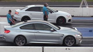 Audi RS3 vs BMW M4 vs V8 AMG Mercedes & vs VW Golf - drag racing