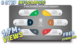 9.Create 6 step ROUNDED RECTANGULAR infograhic/PowerPoint Presentation/Graphic Design/Free Template