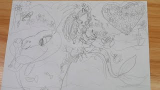 No.2 drawing. The Pencil drawing- A mermaid, small fish and the dolphin in the sea