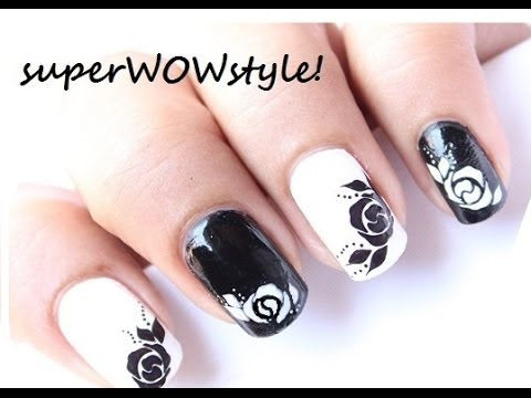 rose nail designs  water decals  black and white easy