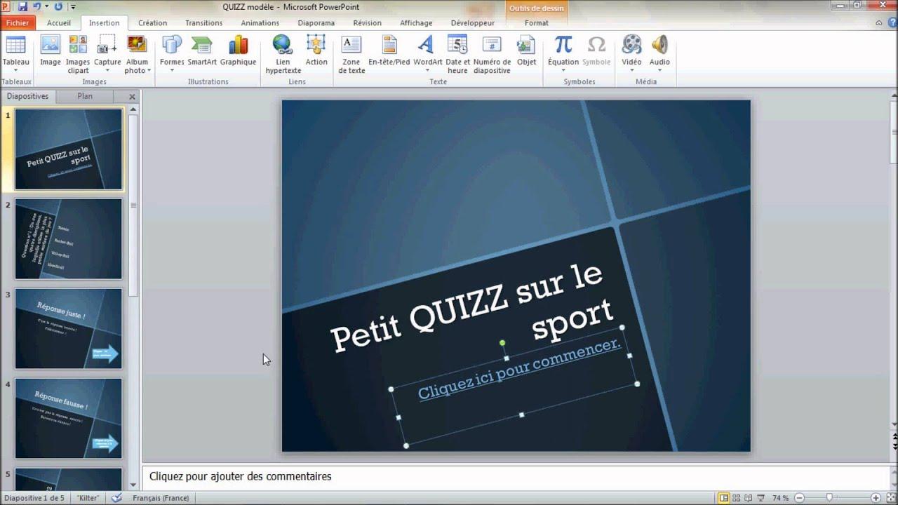 Créer un questionnaire interactif avec PowerPoint - YouTube