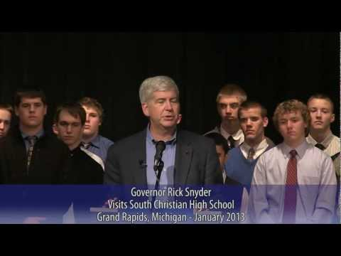 Governor Rick Snyder visits South Christian High School in Grand Rapids, Michigan