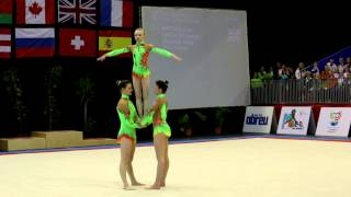 FIG Acro World Cup 2013 Maia - GBR W3 Sen Dynamic - Matthew, Lancaster and Spalding