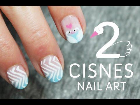 Uñas decoradas con cisnes paso a paso   Tutoriales de Nail Art