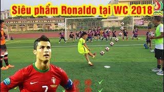 Thử Thách Bóng Đá tái hiện siêu phẩm của Ronaldo tại World Cup 2018 với 2 Quang Hải Nhí