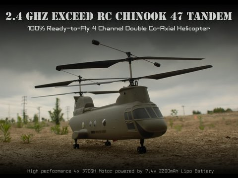 2.4Ghz Exceed RC 4-Channel Chinook 47 Radio Controlled Helicopter 100% RTF