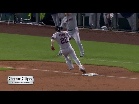 CLE@KC: Kipnis' inside-the-parker scores three
