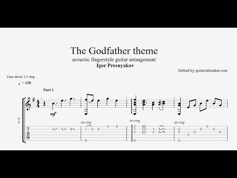 Igor Presnyakov - The Godfather Theme TAB - acoustic fingerstyle guitar tab - PDF - Guitar Pro
