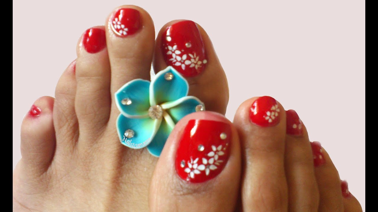 Nail art for toes - Sexy Red nails - YouTube