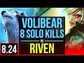 VOLIBEAR vs RIVEN (TOP) | 5 early solo kills, 8 solo kills, KDA 13/3/11 | EUW Diamond | v8.24 thumbnail