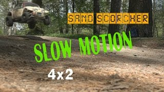 Tamiya Sand Scorcher old car slow motion JUMP!!!