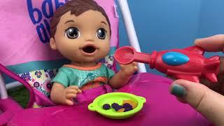 Baby Alive Snackin' Luke Doll Brunette FEEDING! Diaper Change!
