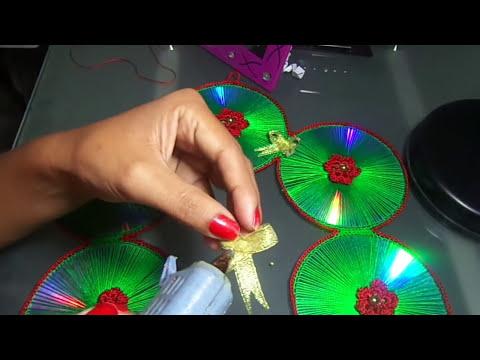 CORONA NAVIDEÑA DE CDS RECICLADOS PASO A PASO
