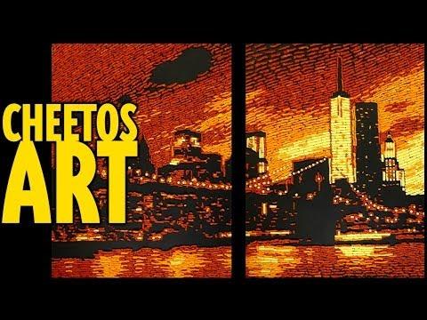 Cheetos Mosaic Art : New York : Brooklyn Bridge and Manhattan Skyline