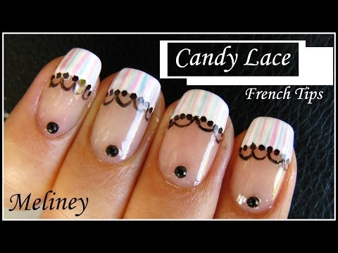 CANDY LACE FRENCH TIP NAIL ART DESIGN   NAIL TUTORIAL MANICURE FOR BEGINNERS HOME MADE EASY