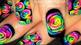 DIY Neon Rainbow Rose Nails! | Kaleidoscope Moses Roses Nail Art Tutorial