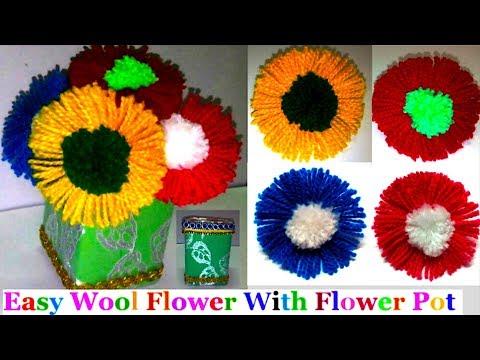 How to make Easy Woolen Flowers with flower pot step by step|Handmade woolen flower making idea- diy