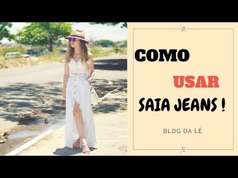 Usando a clássica saia jeans-Blog da Lê
