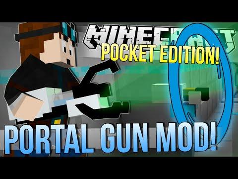 Minecraft Pocket Edition   PORTAL & GRAVITY GUN MOD!   Mod Showcase