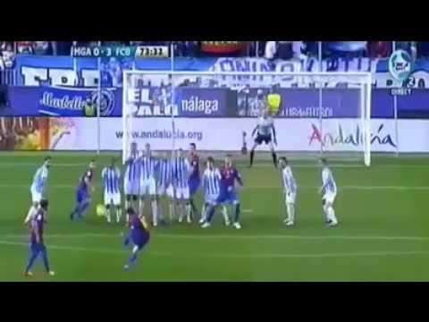 Unlucky Lionel Messi Free Kick against Malaga