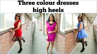 How to wear colour dresses - purple, red and blue (outtakes at the end) [crossdresser] | NatCrys