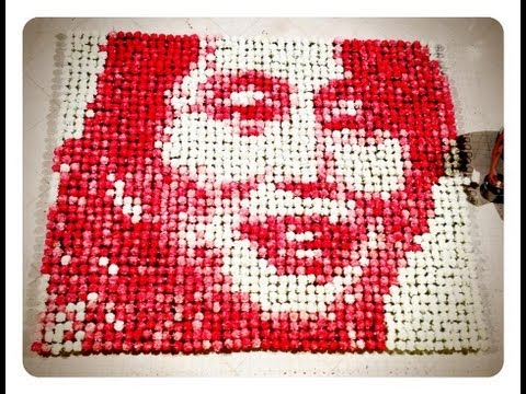 Aung San Suu Kyi Portrait with 2000 white flowers and red dye by Red Hong Yi
