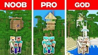 Minecraft NOOB vs PRO vs GOD FAMILY TREE HOUSE BUILD CHALLENGE in Minecraft! Animation