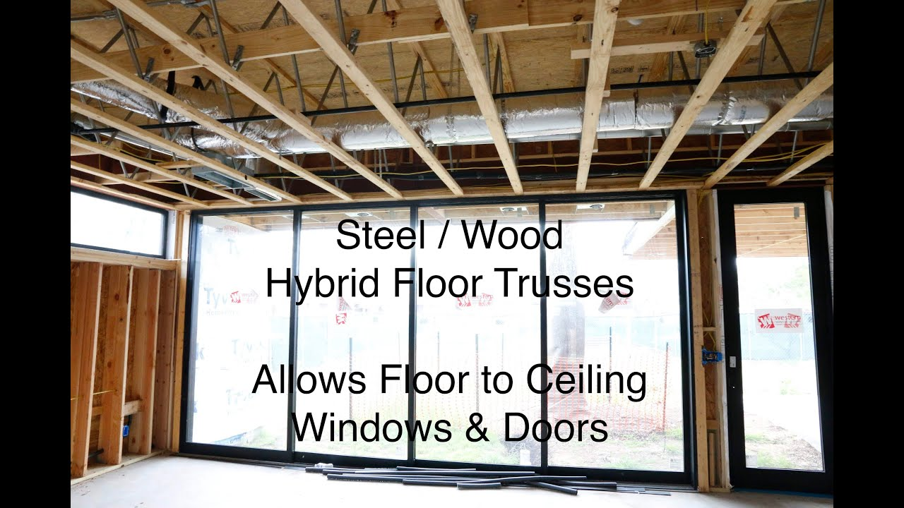Steel wood hybrid floor truss redbuilt review youtube for Prefab trusses prices