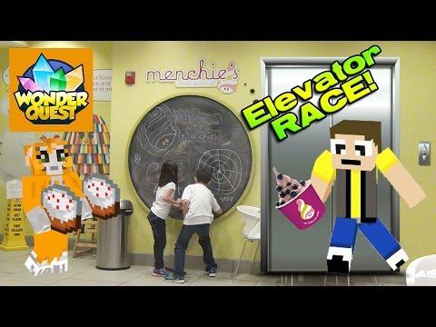 ELEVATOR RACE!!! Recording Stampy's Wonder Quest & Menchie's Frozen Yogurt